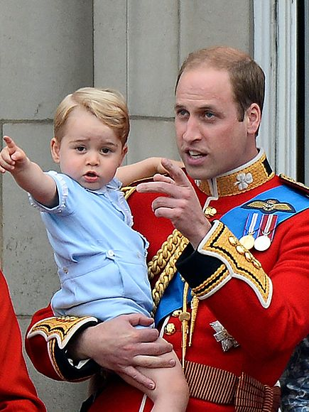 Balcony Baby! See Prince George from Every Angle at Trooping the Colour |  | In the arms of his father, Prince William, the 22-month-old heir excitedly points to the crowd below.
