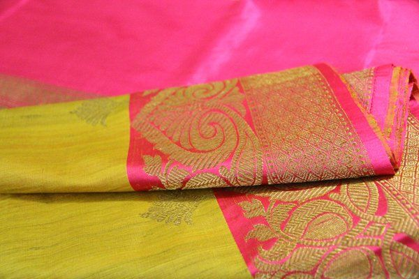 Olive Yellow & Hot Pink Tussar Silk Banarasi | Temple Of Kanchi Sarees, Temple Jewellery, Pure Silk, Kanchipuram