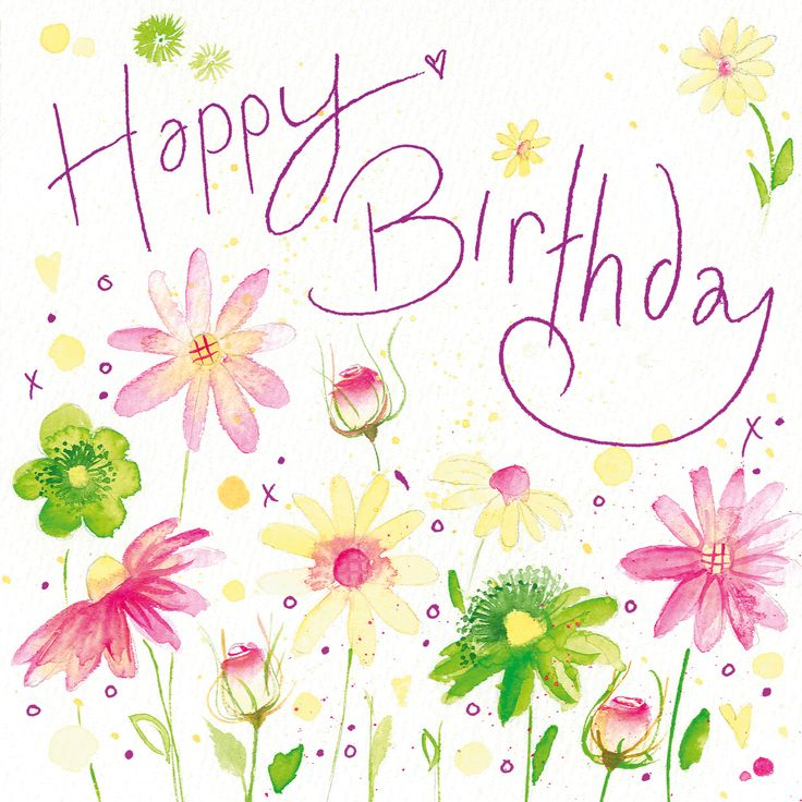 Happy Birthday (W119) Floral Greetings Cards by Lyn Thompson, features Pink Foil http://www.thewhistlefish.com/product/happy-birthday-3-greeting-card-by-lyn-thompson