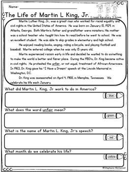 Martin L King, Jr-Rainbow Comprehension Freebie, 1st, 2nd