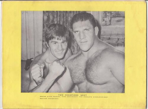 "Tri-State Wrestling Program: Circa-1966, F, 36 pages, B&W with color front cover, produced by Spectator Sports Inc. in Pittsburgh, World heavyweight champion Bruno Sammartino on the front. Here's the back cover with Bruno and middleweight boxing champ Giovanni ""Nino"" Benvenuti. $75"