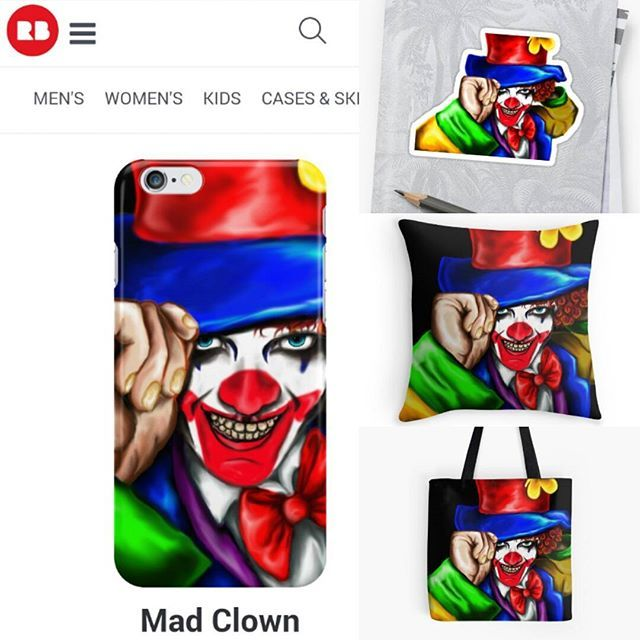 I am soo bappy with how this turned out. It feels great to see your art on a product  #art #merch #merchandise #redbubble #clown #madclown #joker #colour