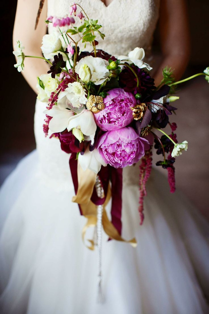Cascade Bridal Bouquet Arranged With: Pink Peonies, White/Pink Cymbidium Orchids, White Scabiosa, White Roses, Garnet Dahlias, Red Amaranthus, Chocolate Cosmos, Gold Bouquet Brooches, Burgundy Foliage