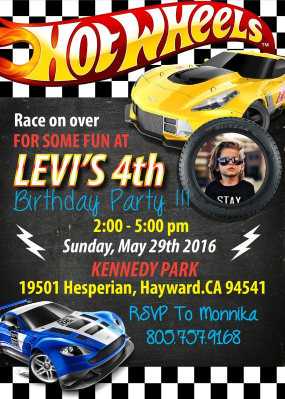 Hot Wheels Birthday Invitation - Hot Wheels Digital Printable Birthday Party…