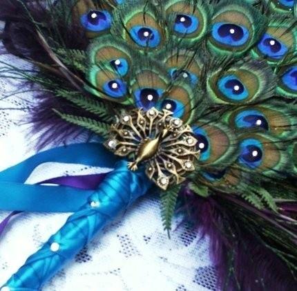 Peacock Bridal Fan Cross Stitch Pattern