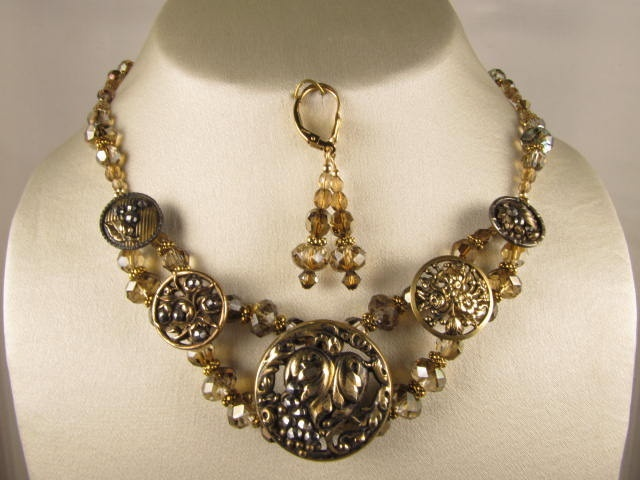 vintage grapes and leaf necklace with victorian stamped buttons