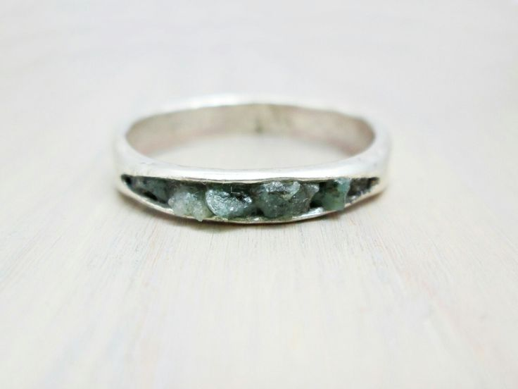 Buried Raw Emerald Ring  thechestnutforge.com