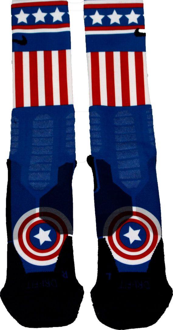 Captain America Custom Nike Hyper Elite Socks by FlyFeet on Etsy