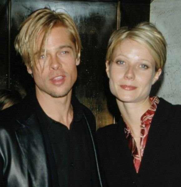 """1997: Pitt attends the premiere of his film """"The Devil's Own"""" with girlfriend Gwyneth Paltrow, with whom he costarred in the 1995 hit """"Seven."""" Only the couple of the mid '90s, they manage to look good even in weirdly matching hairstyles."""