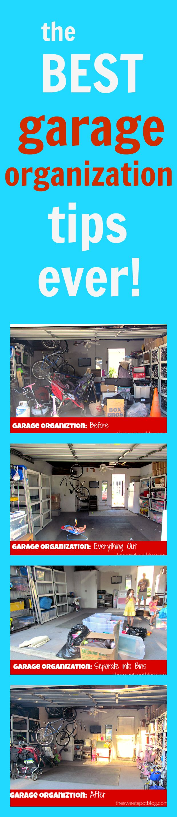 Garage Organization: Before & After Simple Garage Organization Solutions by The Sweet Spot Blog