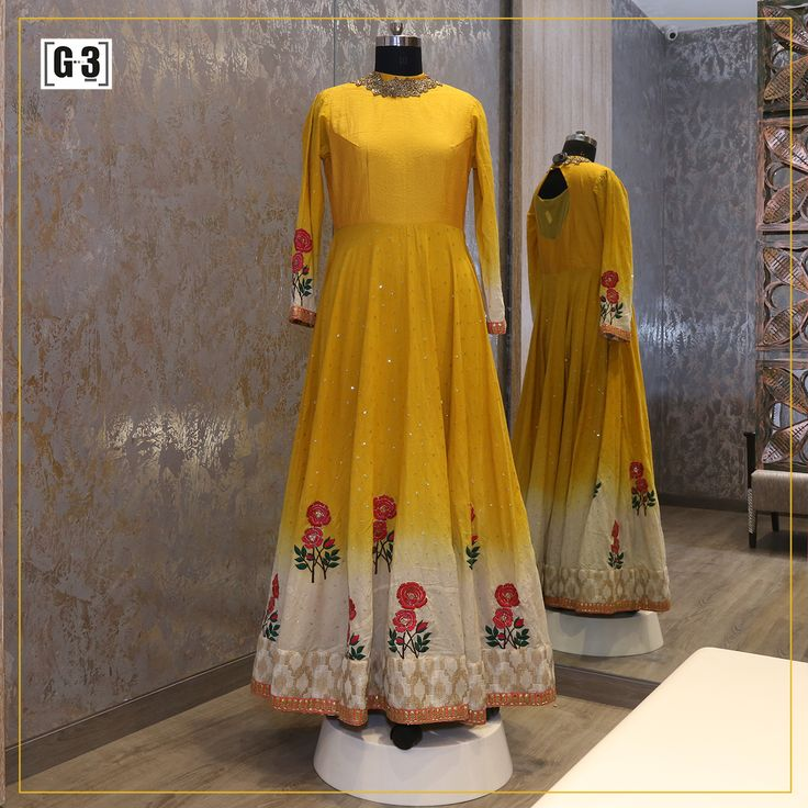 Floral motifs & traditionally Anarkali with mustard yellow gown style salwar suit perfect for this festival season.  ONLY available at G3 Sutaria Ghoddod Rd. Try Live Video calling service by connecting with facetime or skype to view more collection Live on video calling, Whatsapp for appointment - +91-9913433322 or click