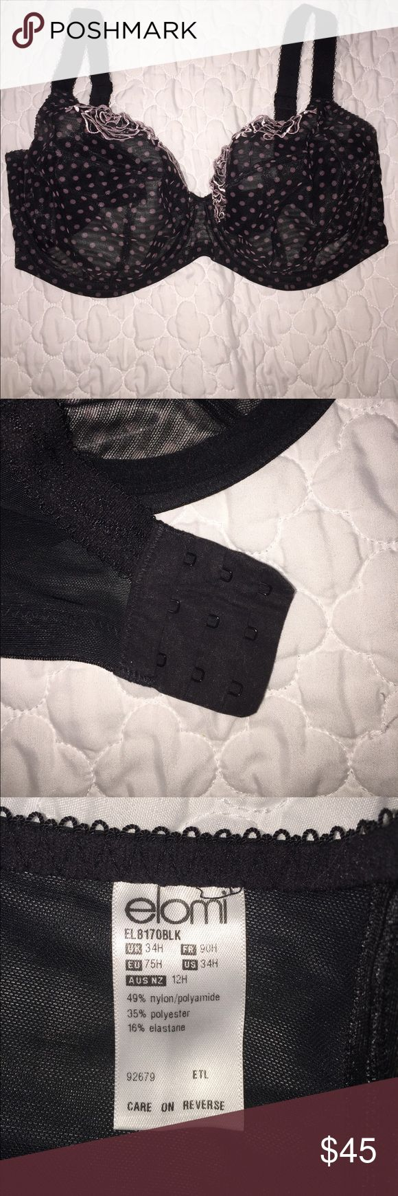 Women's Elomi Bra Size US 34H/UK Style EL817BLK Women's Elomi Bra Size US 34H/UK Style EL817BLK. Worn twice, freshly washed. Purchased at Nordstrom. Comes from smoke and pet free home. No trades, thanks for stopping by! Elomi Intimates & Sleepwear Bras