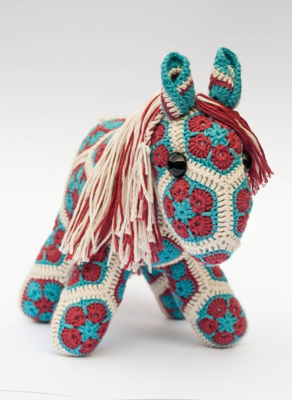 Crochet African Flower Pony Horse, hand made in red and ...