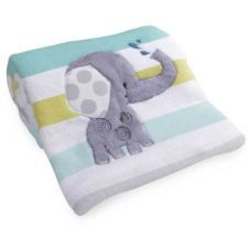 Yoo-Hoo Jungle Animals Elephant with Stripes Baby Unisex Blanket by Lambs & Ivy
