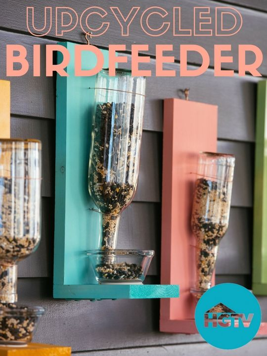 180 best hgtv happy images on pinterest clutter conservation diy upcycled glass bottle birdfeeder httpvideoshgtv solutioingenieria Image collections