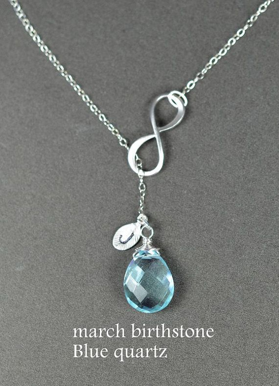 Bridesmaid gifts, Infinity necklace. personalized.custom birthstone.initial.March aquamarine.Y necklace.Lariat necklace.Infinity jewelry