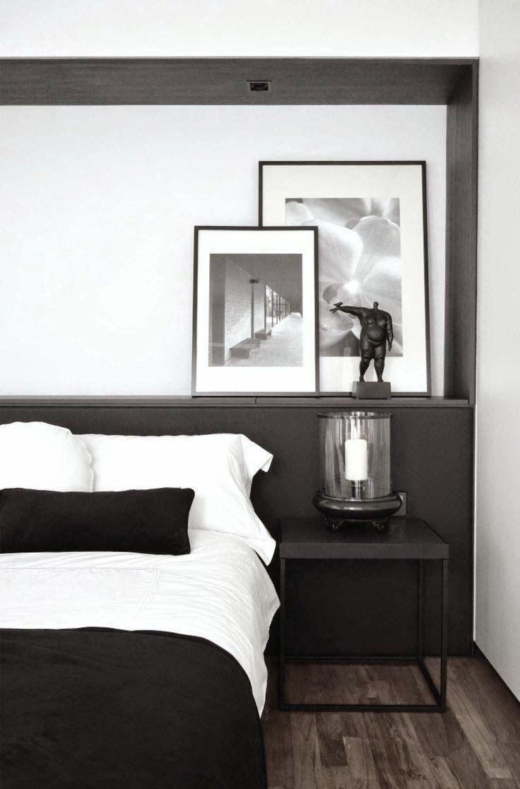Minimalist black white bedroom