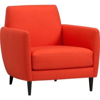 pop of orange: Living Rooms, Cb2 Parlour, Parlour Atomic, Livingroom, Orange Chairs, Accent Chairs, Furniture