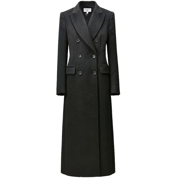 Carine Wool Blend Long Coat (€175) ❤ liked on Polyvore featuring outerwear, coats, black, uniqlo, longline coat, uniqlo coats, long coat and long wool blend coat