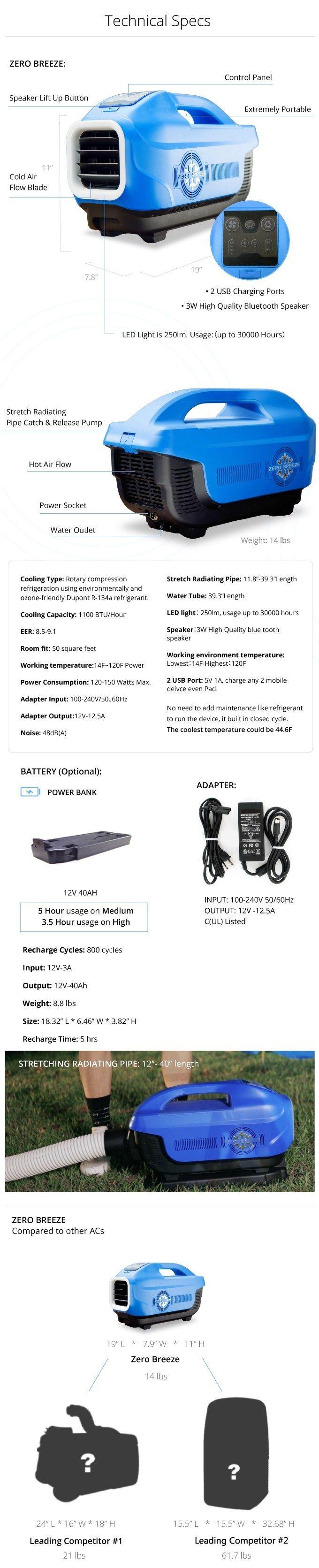 12v portable air conditioner specs
