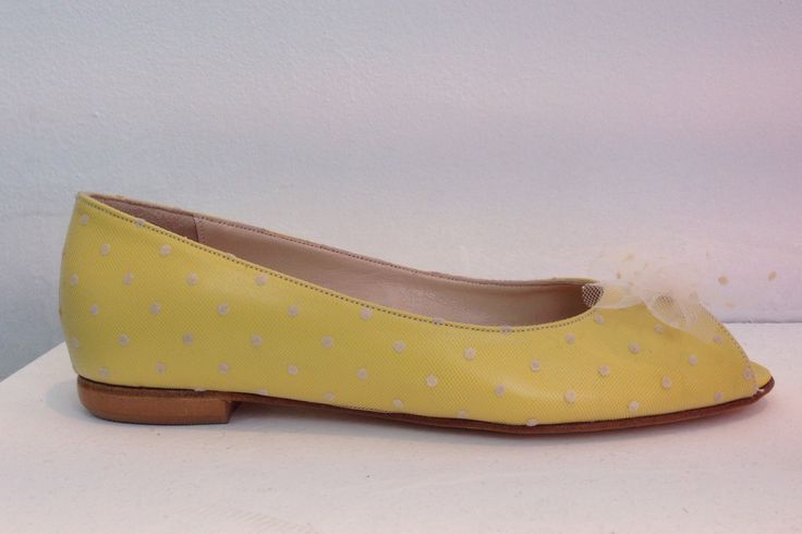 Yellow polka dot leather peep toe ballerinas. Insole & sole leather. Amarisso New York shoes. Made to measure.
