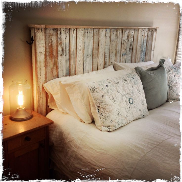 Pallet Wood Headboard by Mark Odlum.    #reclaimedbymark.com…