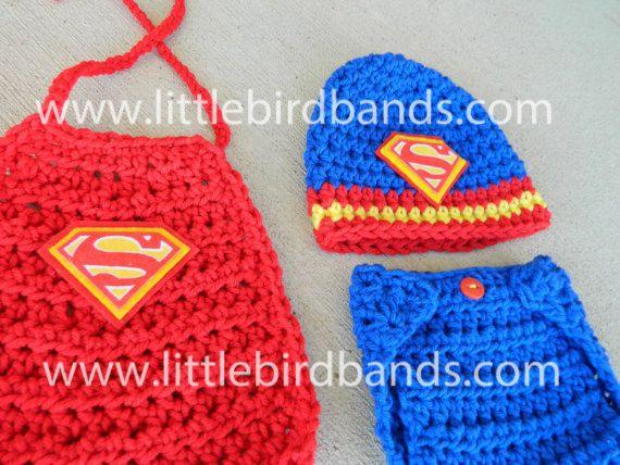 Handmade Crochet Superman Hat and Matching by LittleBirdBands, $44.75