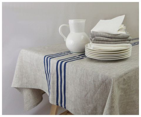 Linen Tablecloth   Blue Stripes U2013 Celina Mancurti