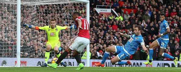 Anthony Martial of Manchester United has a shot on goal during the Premier League match between Manchester United and AFC Bournemouth at Old Trafford...