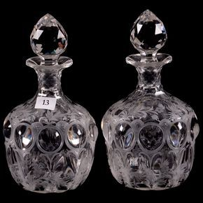 Wavebid - American Brilliant Cut Glass - August 26, 2017 - Item # 13 - Pair ABCG Cologne Bottles - Signed Hawkes