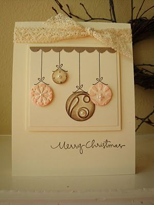 circle ornament card - I've also seen this card with buttons for the ornament which is super cute!: Christmas Cards, Card Sample, Cards Christmas, Christmas Greetings, Greeting Card, Card Ideas, Card Making, Greetings Card