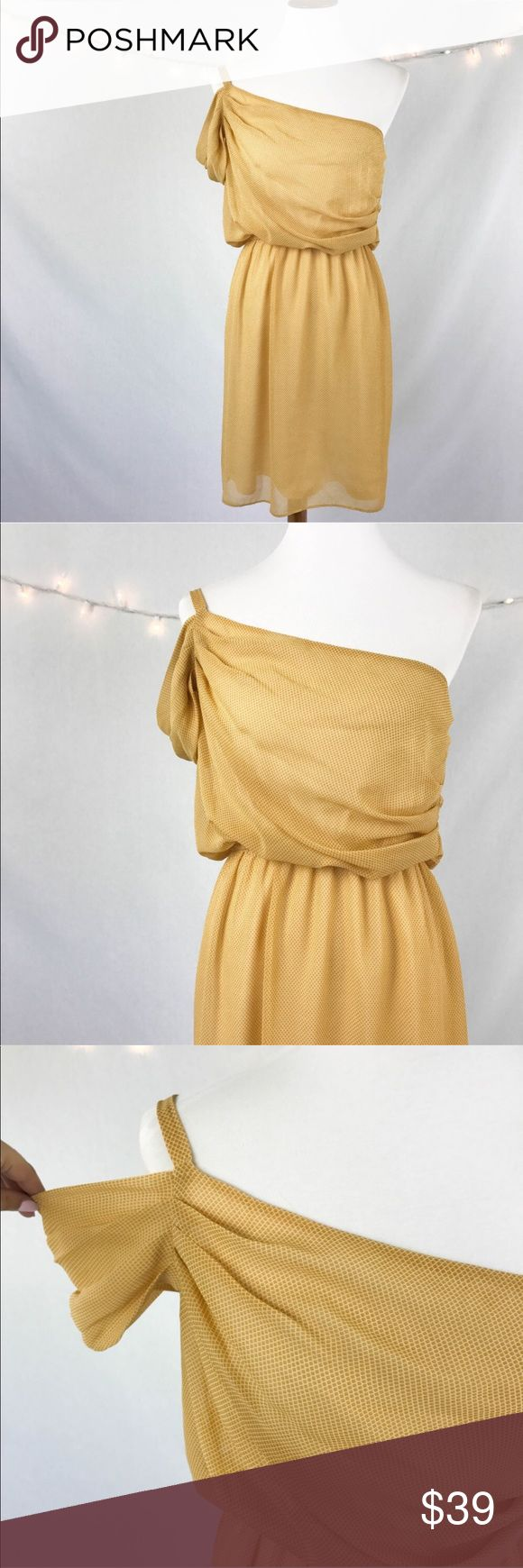 "Judith March Off the Shoulder Yellow Dress Large Judith March Women's Dress Blouson Large Yellow Off The One Shoulder  Type: Dress  Style: One Shoulder  Brand: Judith March  Material: 100% Polyester  Color: Yellow  Measurements: Bust 19.5"" Waist 13""-20"" Length 37""  Condition: No snags, stains, or pilling.  Country of Manufacturer: USA Judith March Dresses One Shoulder"