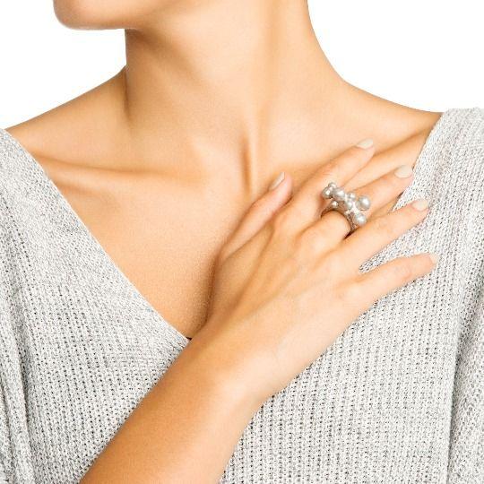 Кольцо Облако серебристого цвета