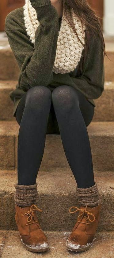 if only our winters were that warm   booties, high socks, tights, scarf and cozy sweater