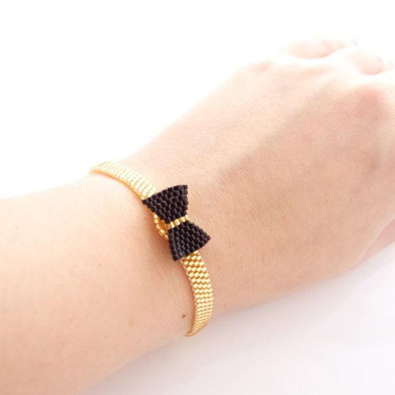 Beaded Black Bow Bracelet Black and Gold Bow by JeannieRichard