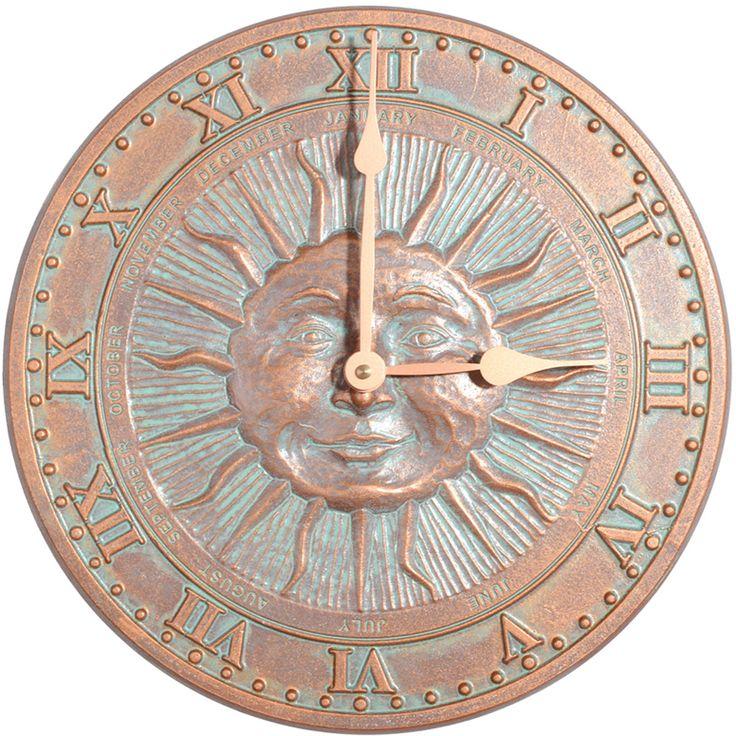 """WH01289 - 12"""" Diameter Sunface Clock, Copper Verdi - Yard ..."""