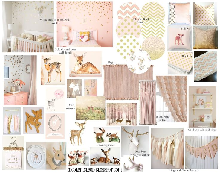 Light Pink And Gold Bedding: 48 Best Blush Pink And Gold Baby Deer Fawn Nursery And