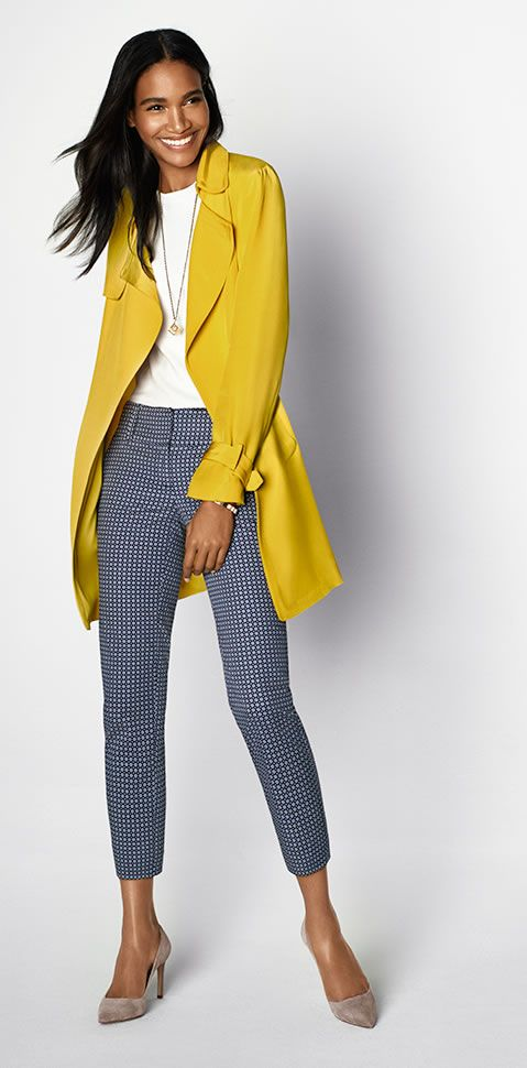 We're looking on the bright side with this relaxed trench in sunny yellow -Ann Taylor