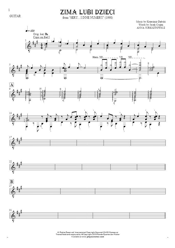 Zima lubi dzieci sheet music by Anna Jurksztowicz. From album Sery... i inne numery (1998). Part: Notes (in transposing) for guitar - accompaniment.