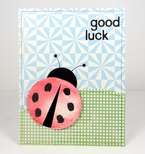 Watercolor Ladybug Good Luck Card  Good Luck Card Template