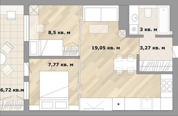 Фотография:  в стиле , Малогабаритная квартира, Перепланировка, как из однушки сделать двушку, дизайн однокомнатной квартиры, дом серии II-67, как обустроить однушку для семьи с двумя детьми, варианты планировки пространства в однокомнатной квартире, идеи для владельцев однушек, варианты планировки однокомнатной квартиры в II-67 – фото на InMyRoom.ru