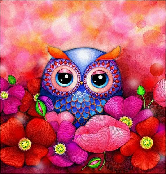 Owl Art - Owl Decor - Red Poppy Hill Flower Field - Romantic Love Painting NEW by Annya Kai via Etsy