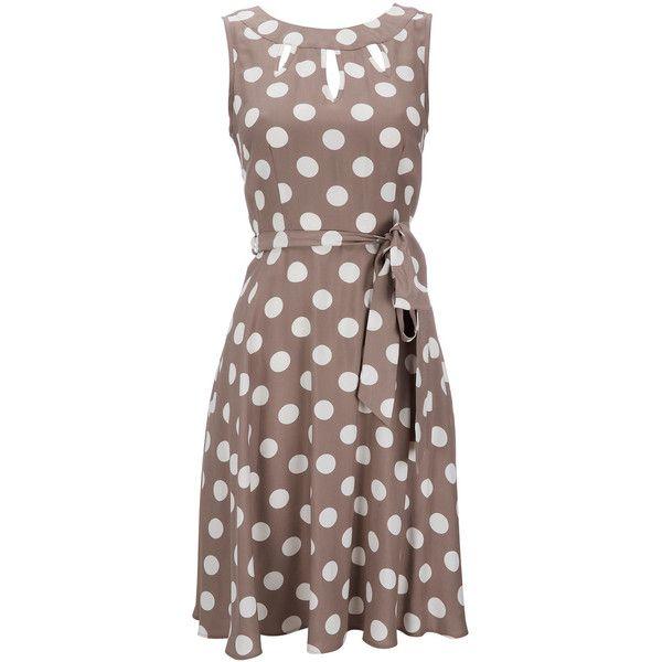Taupe Polka Dot Petite Dress ($63) ❤ liked on Polyvore featuring dresses, taupe, petite, dot dress, viscose dress, spotted dress, rayon dress and polka dot dress