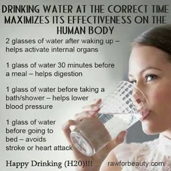 Water at the right  times maximizes health