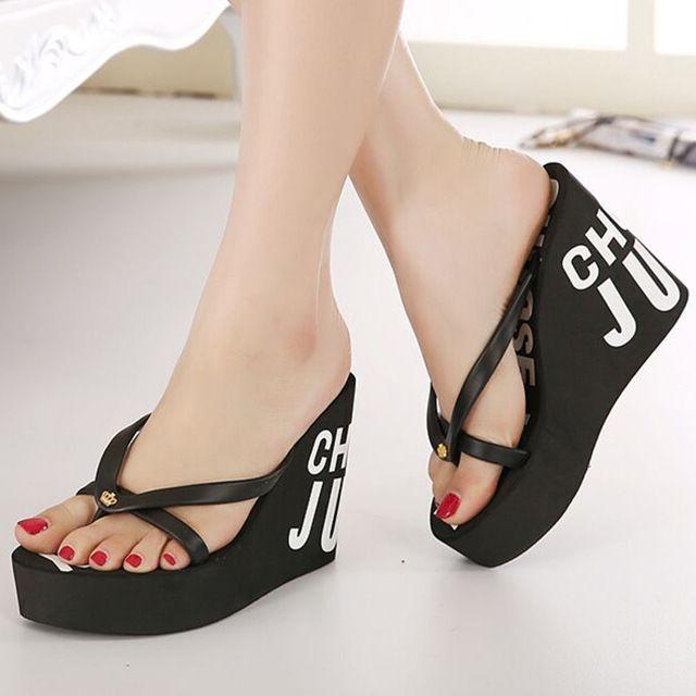2016 новинка лето 11 см высокие каблуки женщин резиновые шлепки на платформе клинья тапочки девушки пляжные сандалии обувь