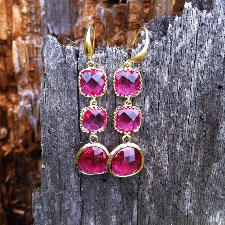 Earrings. Deep pink and gold coated Rhodium.