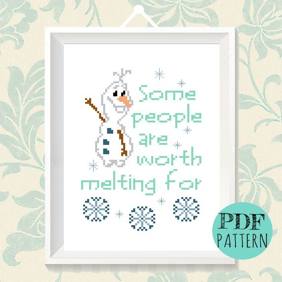 Frozen cross stitch pattern Category: Movies #crossstitch #xstitch #Frozen #Olaf #pattern #freebie #download