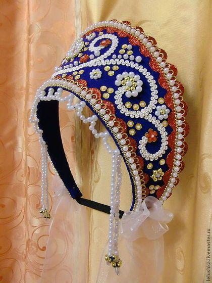 Кокошник Есть в наличии синий 1 шт. - кокошник,русский народный костюм