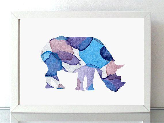 Neushoorn schilderij  giclee print  aqaurel  door Lemonillustrations