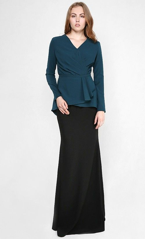 Lara Modern Draping Two-Piece Kurung in Teal Green and Black